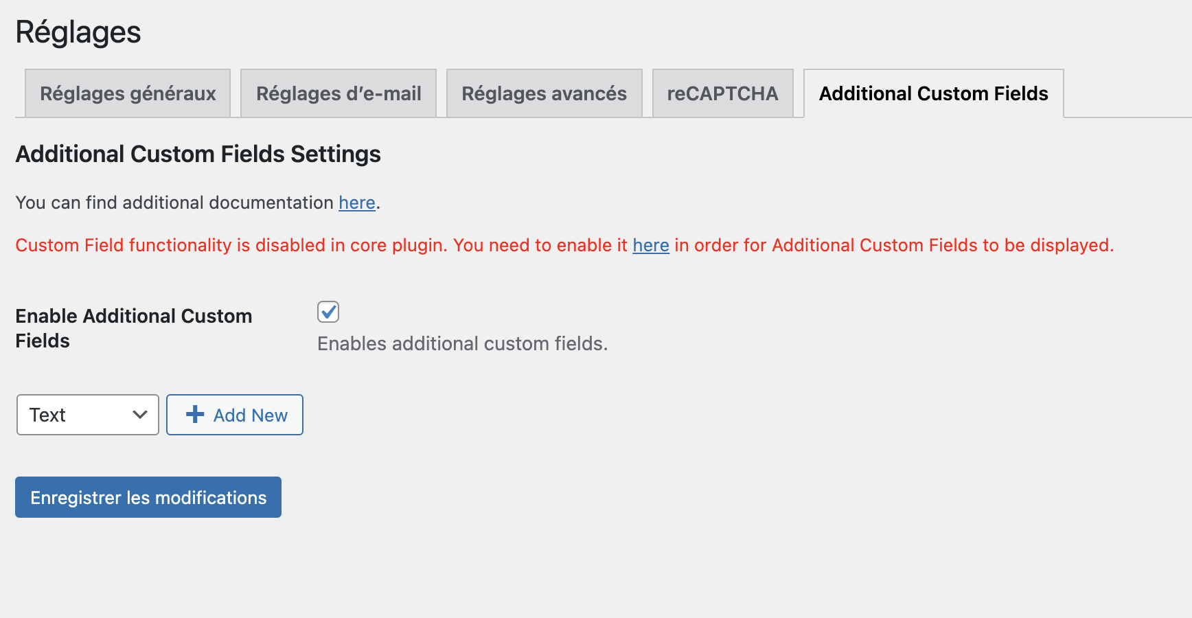 screenshot of the WordPress admin tab